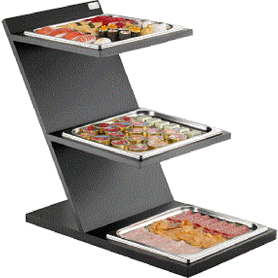 3 Levels Fixed Cold Stand With GN 2/3 Squared Tray 51131058_3