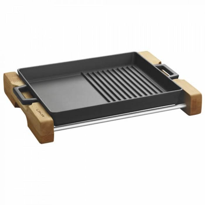 Cast Iron Griddle/Grill Duo Pan Integral metal handles and wooden service stand - LV ECO GT 2632 T4 K4_3