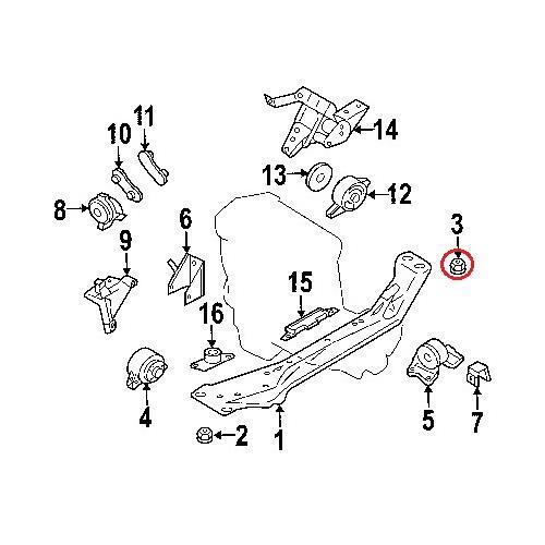 Nissan 11248-4M410 Engine C'member Cushion_2