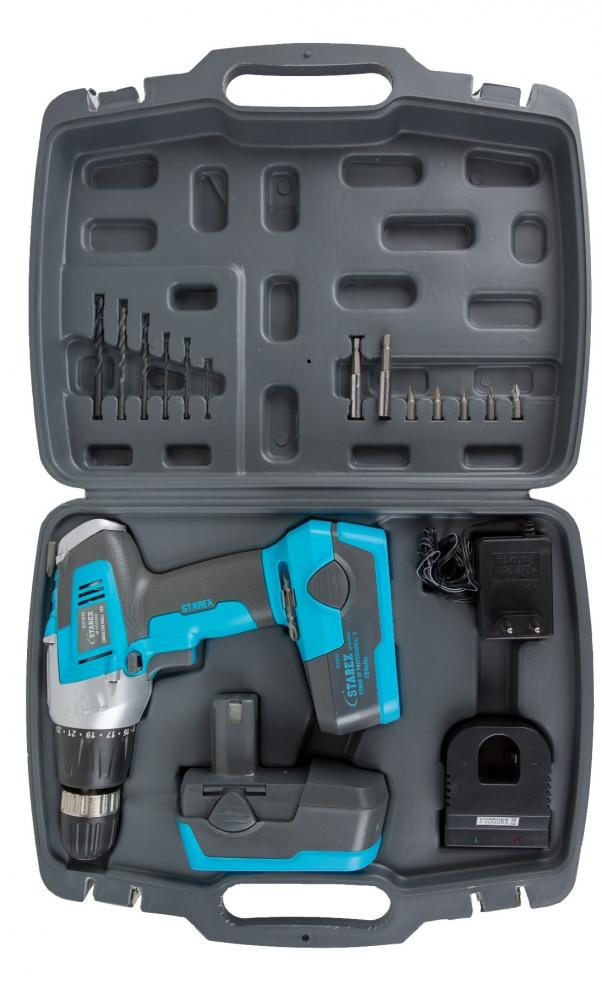 STAREX Cordless Drill 18V with Extra Battery Blue/Grey Body Blow Case ST27015_2