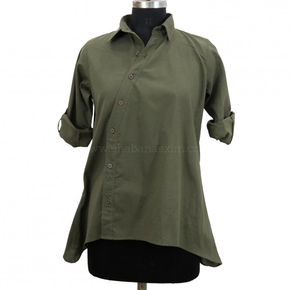 Khaki Ladies Shirts Tops Designer Formal Shirts_2