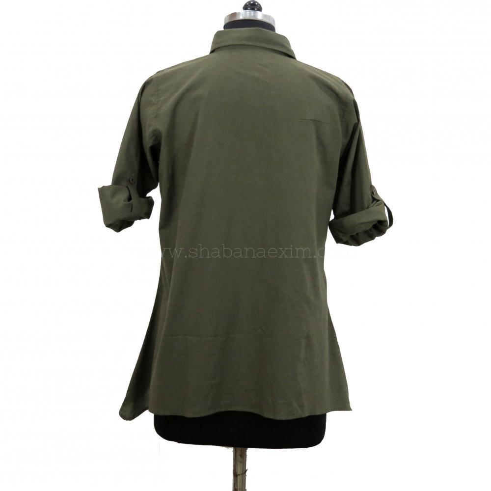 Khaki Ladies Shirts Tops Designer Formal Shirts_3