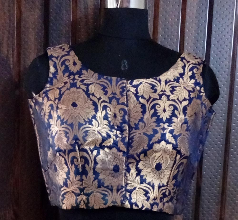 Royal Blue Brocade Blouse_2