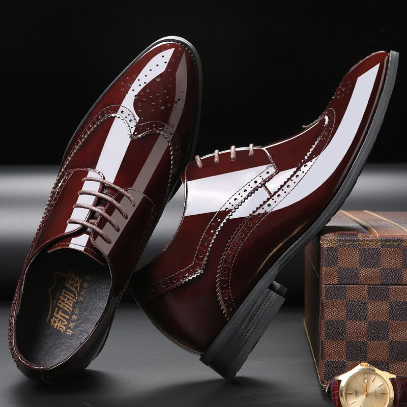 2.76 Inches Taller Men's Bullock Carved Leather Formal Shoes Height Increasing Elevator Shoes_6