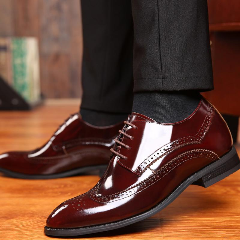 2.76 Inches Taller Men's Bullock Carved Leather Formal Shoes Height Increasing Elevator Shoes_3