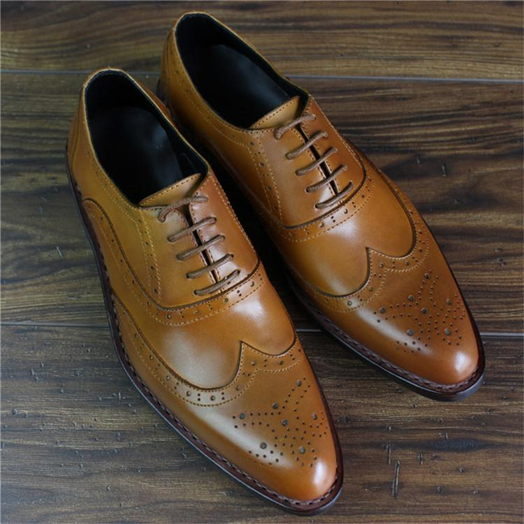 Bespoke Handmade Goodyear Genuine Leather Men Brogue Dress Shoes_2