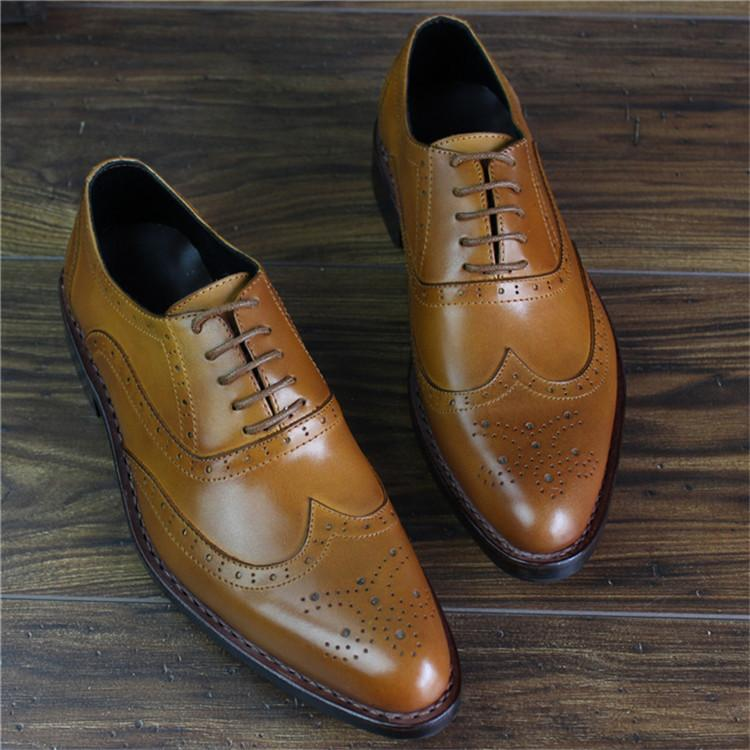 Bespoke Handmade Goodyear Genuine Leather Men Brogue Dress Shoes_5