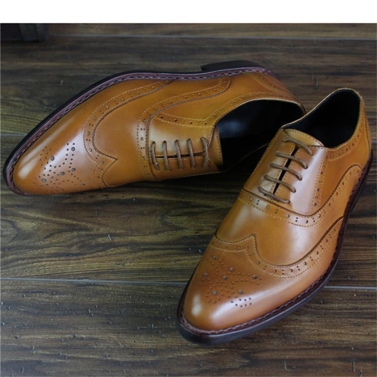 Bespoke Handmade Goodyear Genuine Leather Men Brogue Dress Shoes_4
