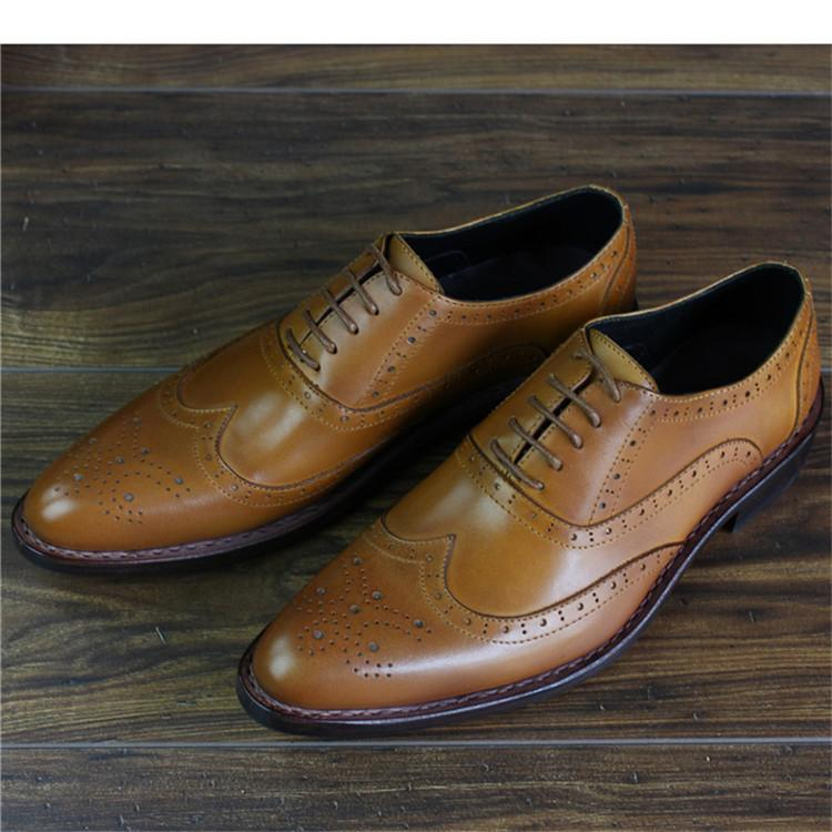 Bespoke Handmade Goodyear Genuine Leather Men Brogue Dress Shoes_7