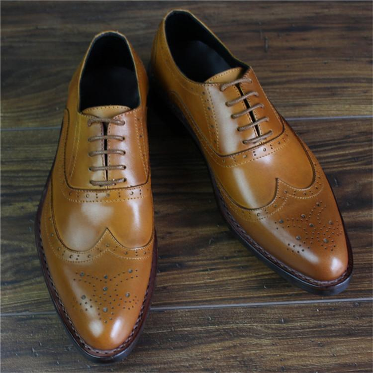 Bespoke Handmade Goodyear Genuine Leather Men Brogue Dress Shoes_6