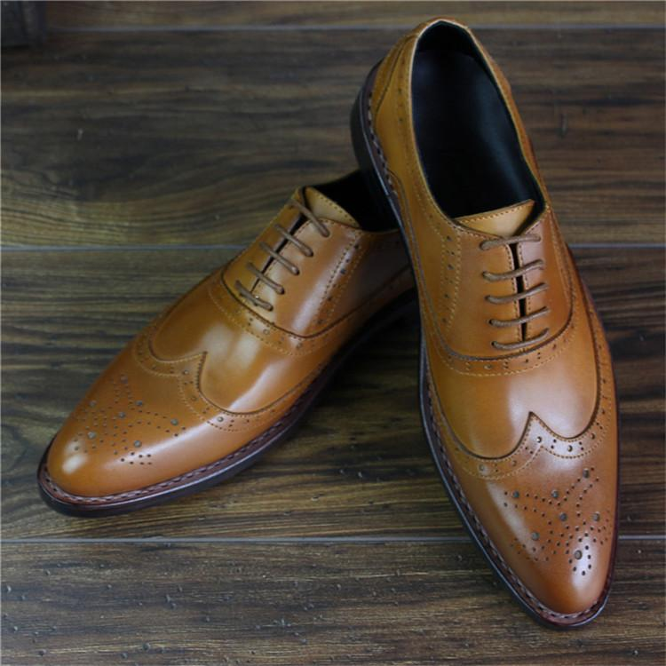 Bespoke Handmade Goodyear Genuine Leather Men Brogue Dress Shoes_3