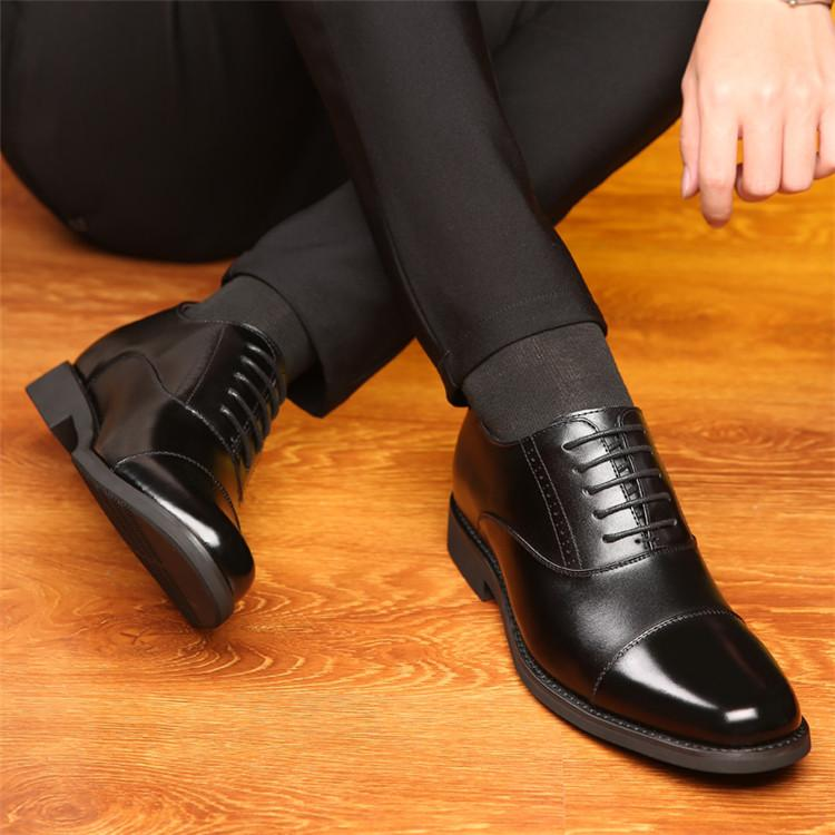 Taller Men 7 cm Height Increasing Elevator Leather Shoes_5