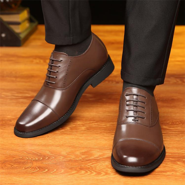 Taller Men 7 cm Height Increasing Elevator Leather Shoes_7