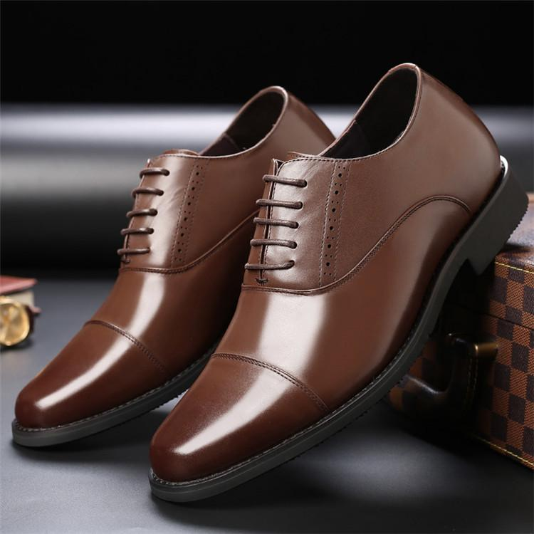 Taller Men 7 cm Height Increasing Elevator Leather Shoes_9