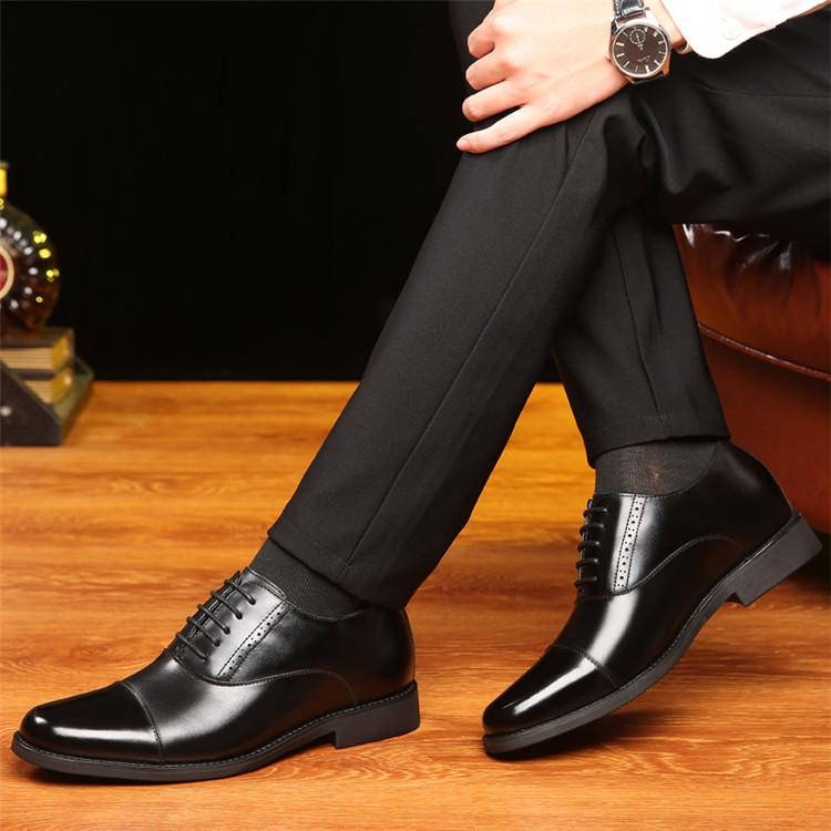 Taller Men 7 cm Height Increasing Elevator Leather Shoes_3