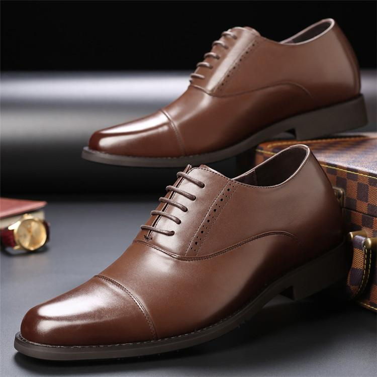Taller Men 7 cm Height Increasing Elevator Leather Shoes_10