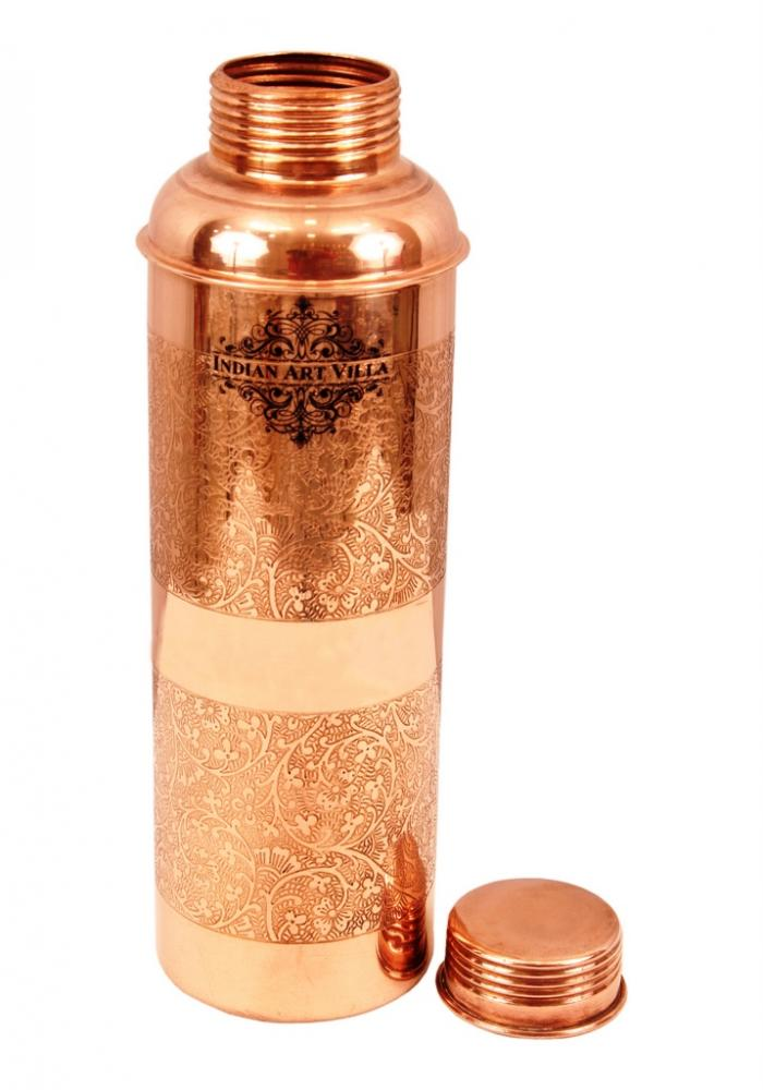 Pure Copper Designer Embossed Bisleri Design Bottle_4