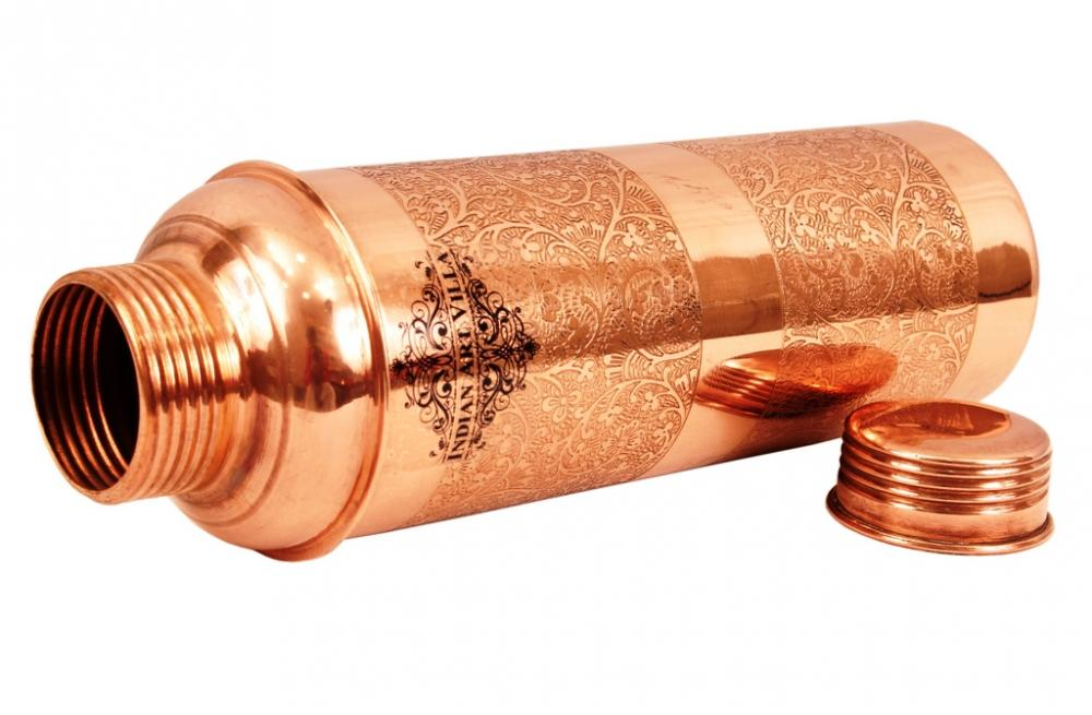 Pure Copper Designer Embossed Bisleri Design Bottle_3