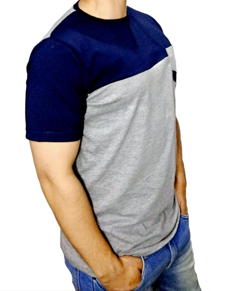 Mens Round Neck T-Shirt with Pocket Navy & Grey_3
