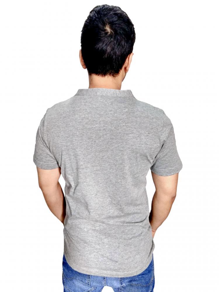 COLOR SWING Men Grey Milange Henley T shirt With Blue Denium Moon Patch_2