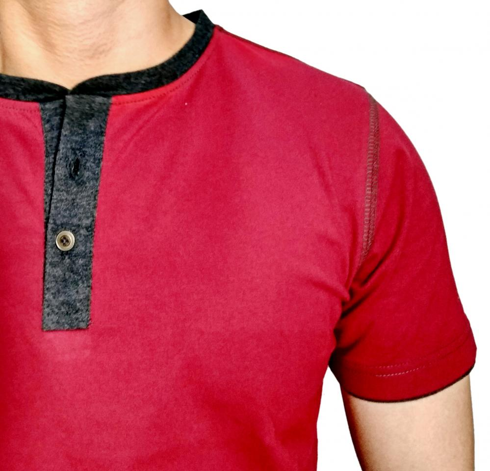 Mens Burgundy Henley T shirt With BK 15 Milange Moon Patch_3