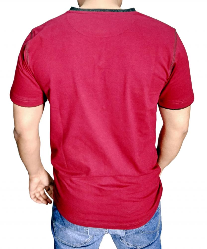 Mens Burgundy Henley T shirt With BK 15 Milange Moon Patch_2