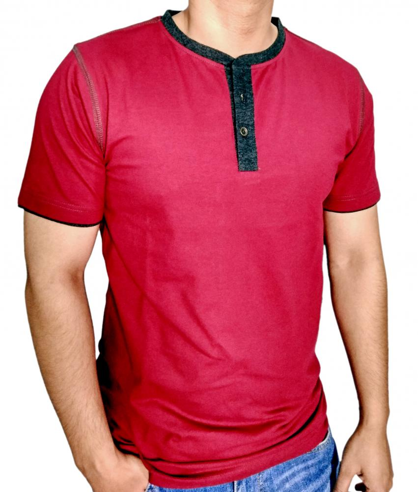 Mens Burgundy Henley T shirt With BK 15 Milange Moon Patch_4