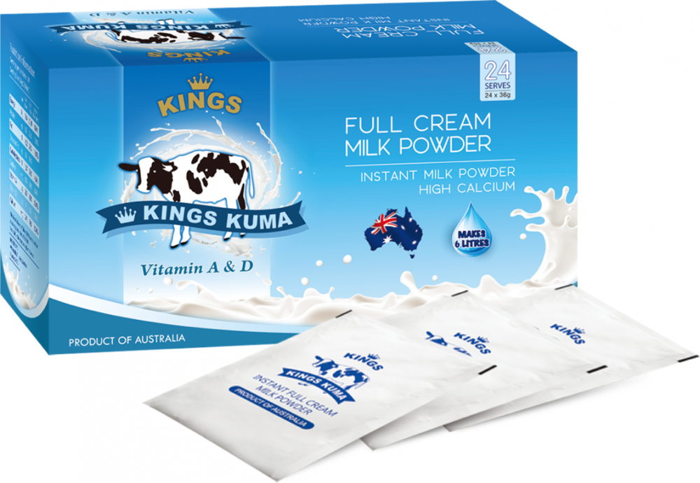Kings Kuma FULL CREAM MILK POWDER Sachet Box - VITAMIN A & D_2