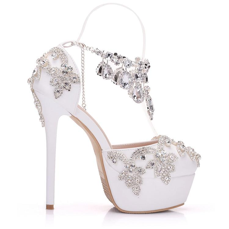 Fashion Luxury Rhinestone Ultra High Heels Women's Wedding Shoes_7