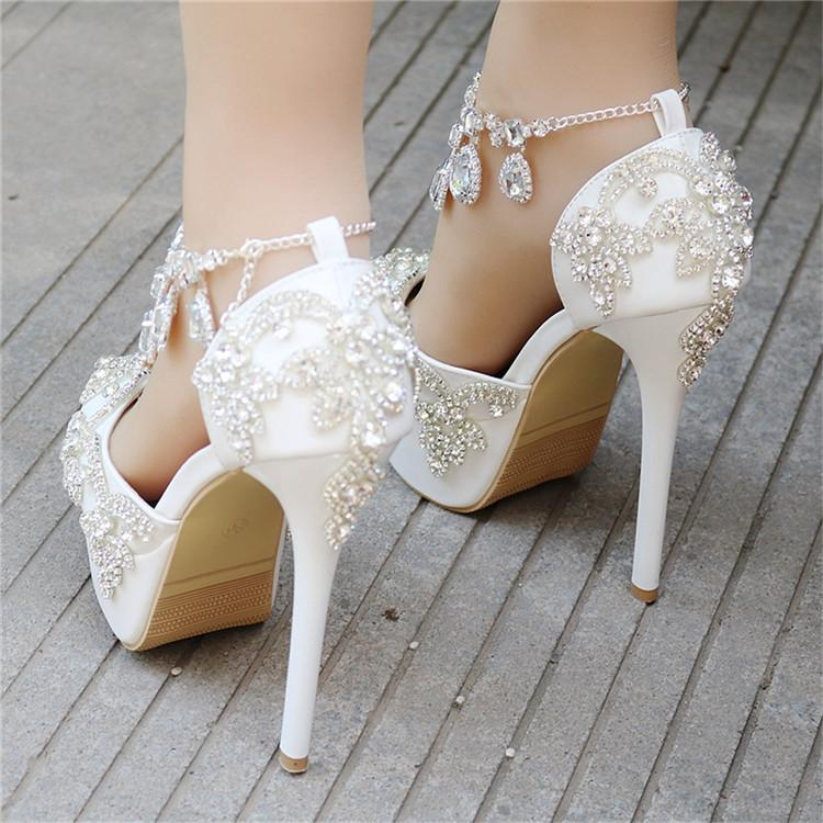 Fashion Luxury Rhinestone Ultra High Heels Women's Wedding Shoes_3