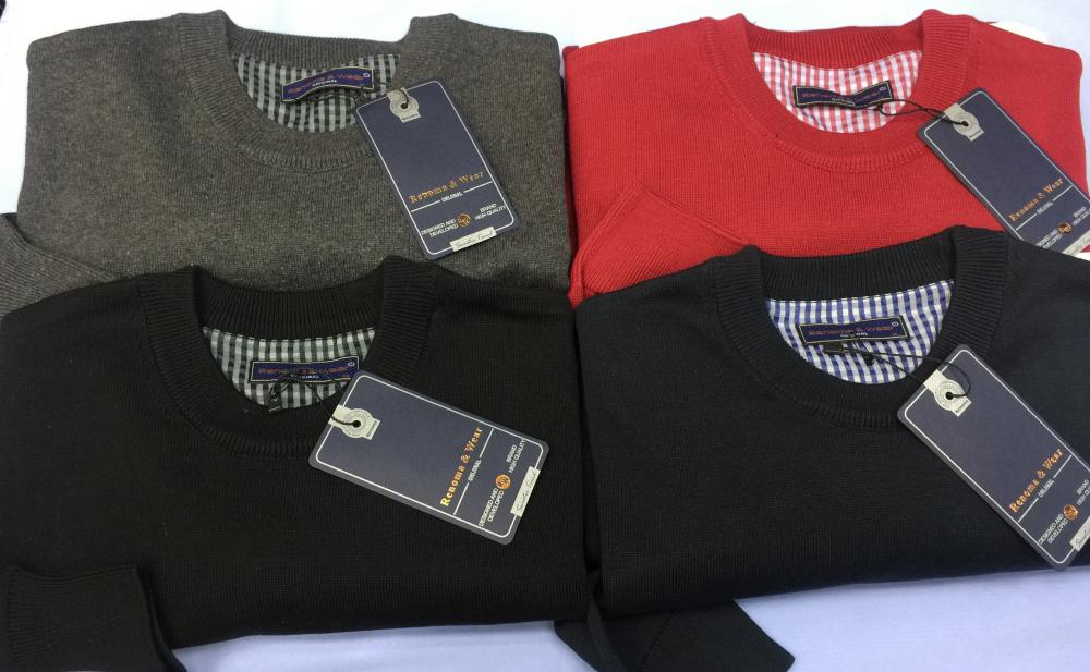 Men's 100% Cotton Plain Sweaters (V neck or 0 neck)_4