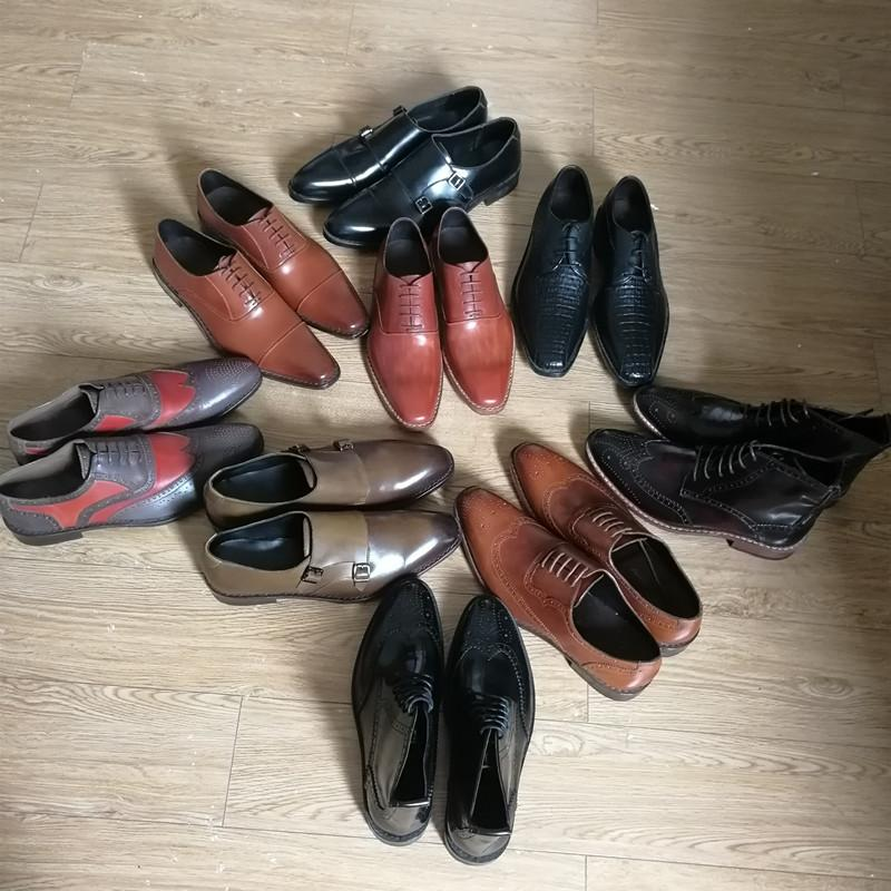 Handmade genuine leather goodyear shoes for men wedding_4