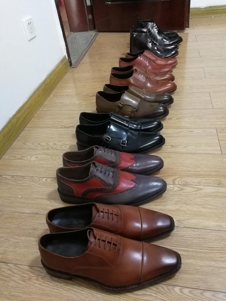 Handmade genuine leather goodyear shoes for men wedding_3
