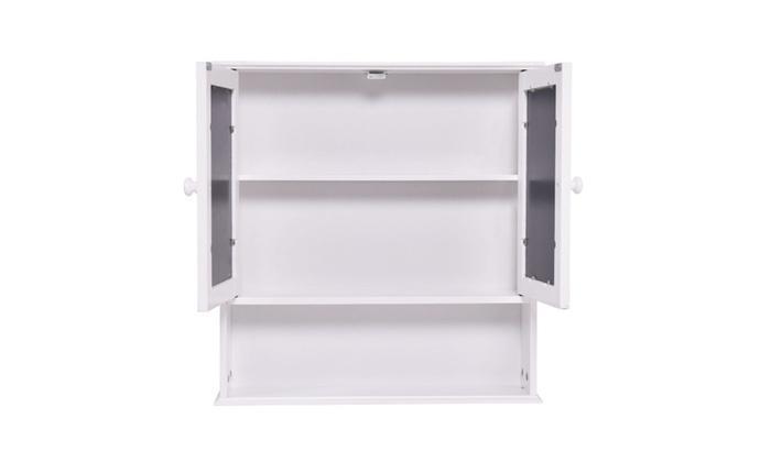 FD-BC-460757 - Bathroom Wall Cabinet Double Mirror Door Cupboard Storage Wood Shelf_3