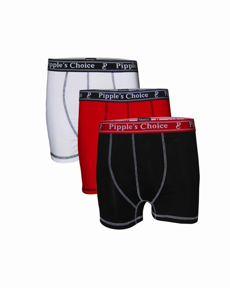 Pipple's Choice Men,s Cotton Boxers are packed in poly bag (3 boxers in one poly bag) Red, White and Black_2