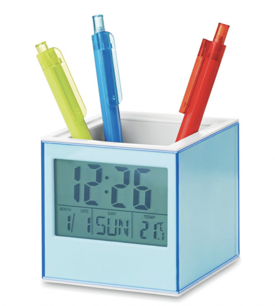 Cube Shaped Ball Pen Holder With Desk Clock_2