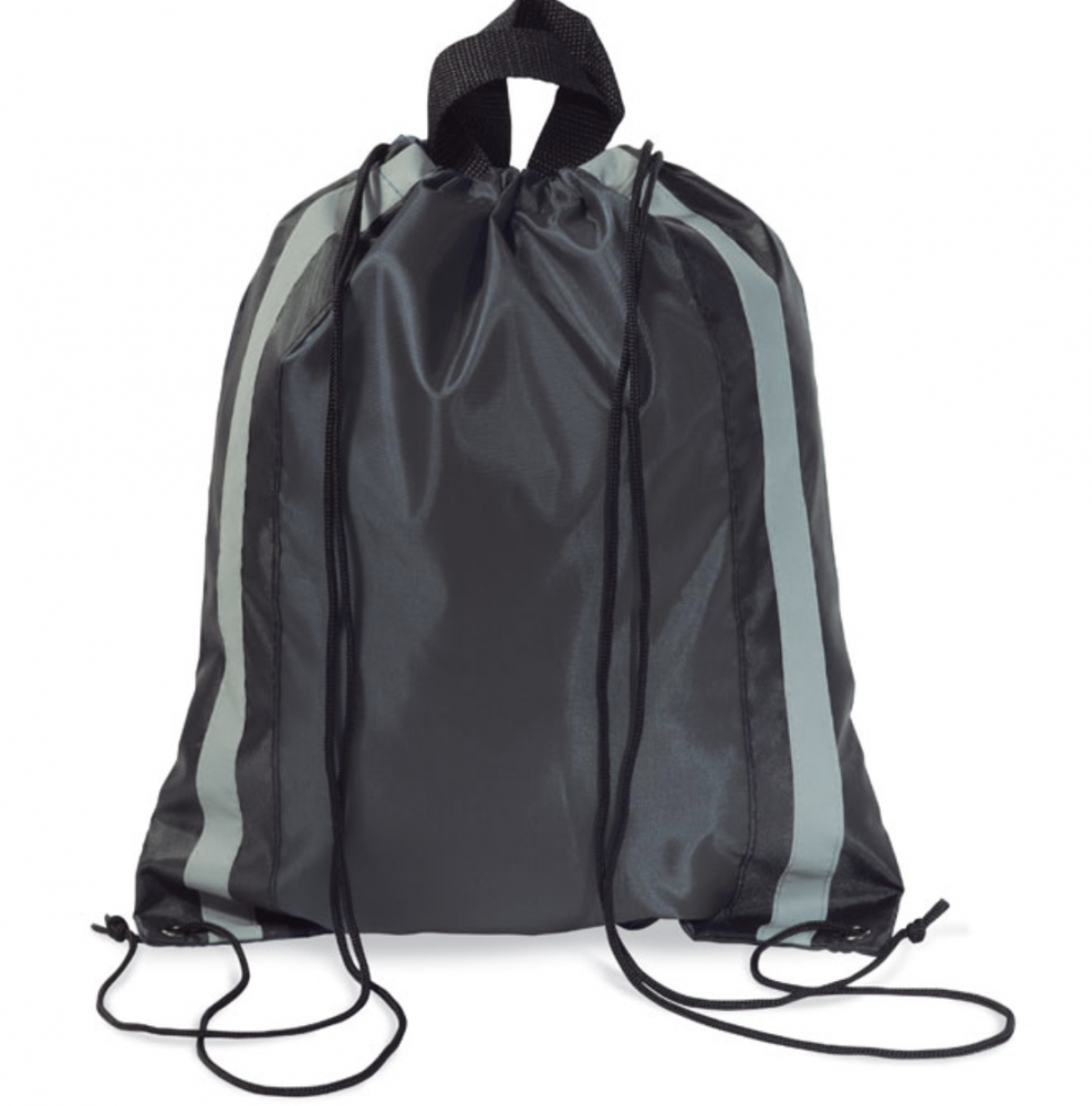 Drawstring Bag in 190T Polyester With Reflective Sides and Short Handles._2