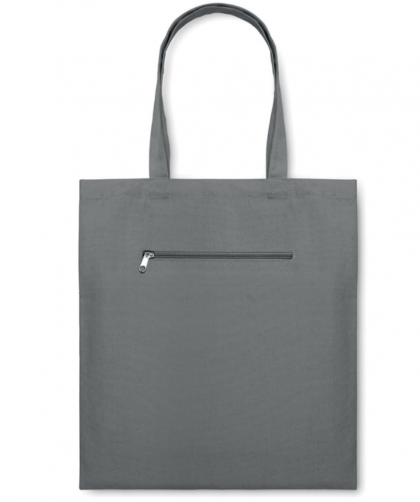Canvas Shopping Bag With Short Handles and Front Zipped Pocket_2