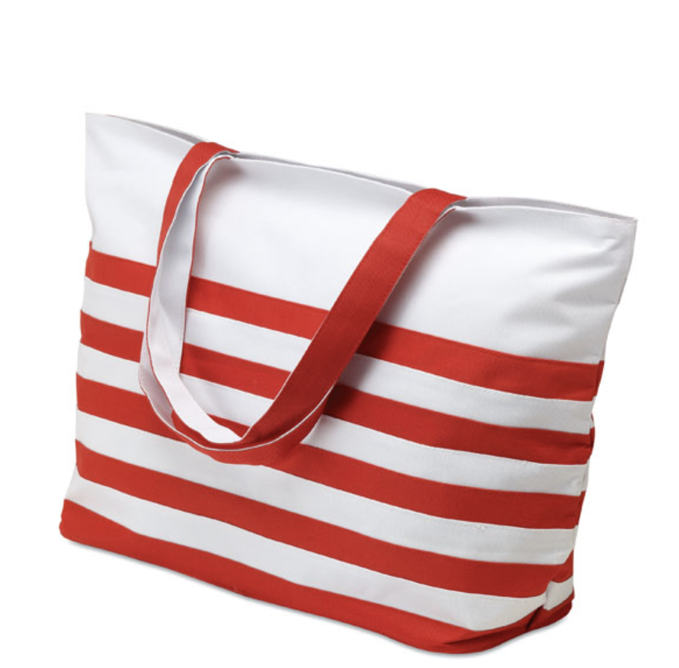 Bicolour Beach Bag with Long Handle and Nautical Stripe Style_2