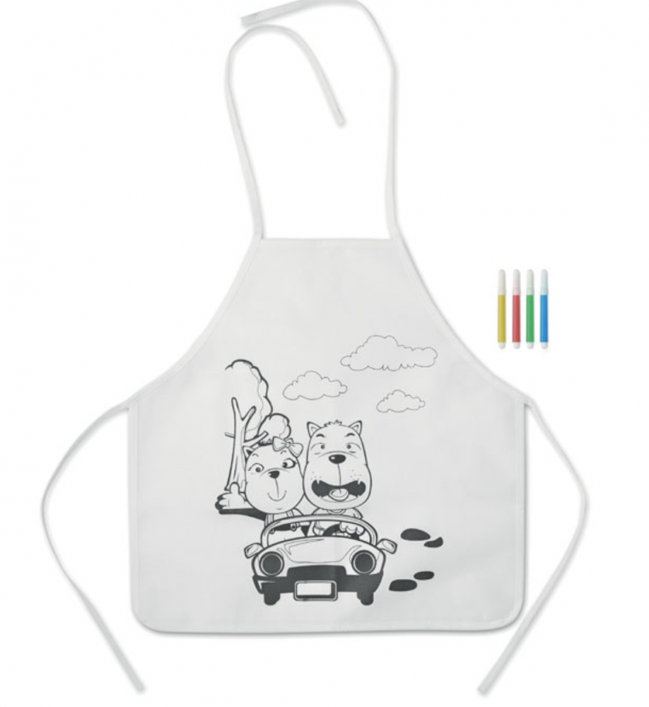 Non Woven Kids Apron With 4 Markers._2