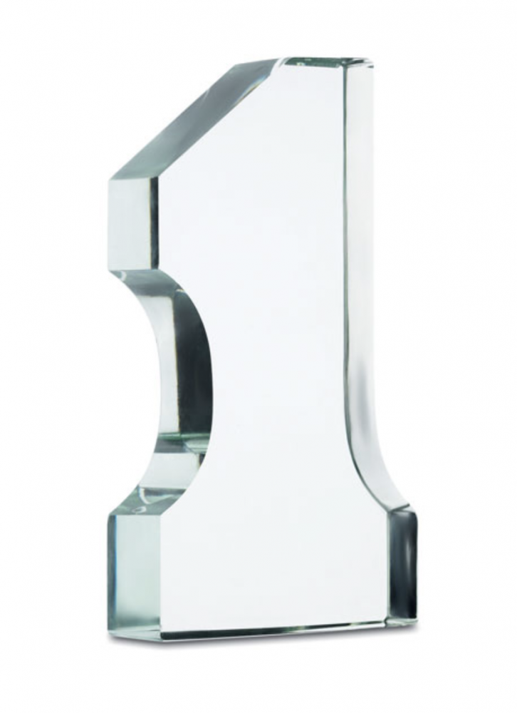 Number One Shaped Trophy Made in Glass_2
