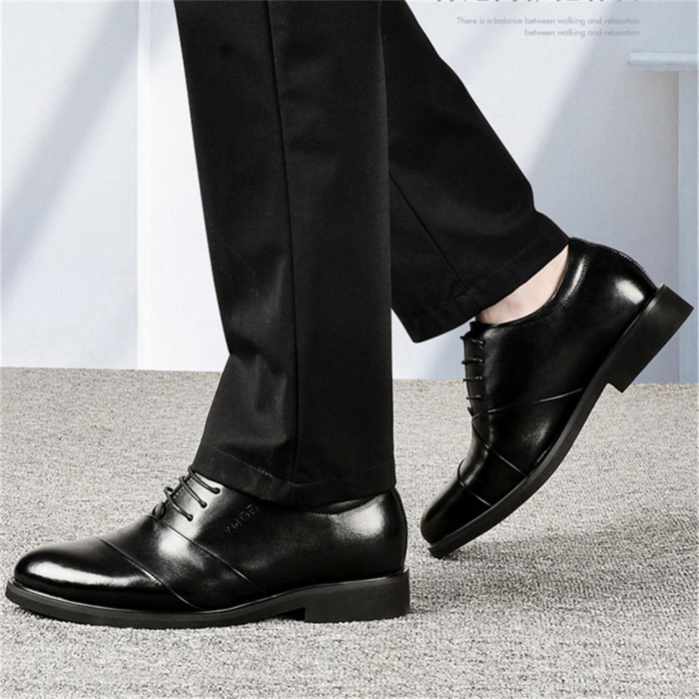 Men oxfords leather shoes height increasing elevator dress shoes for wedding_4