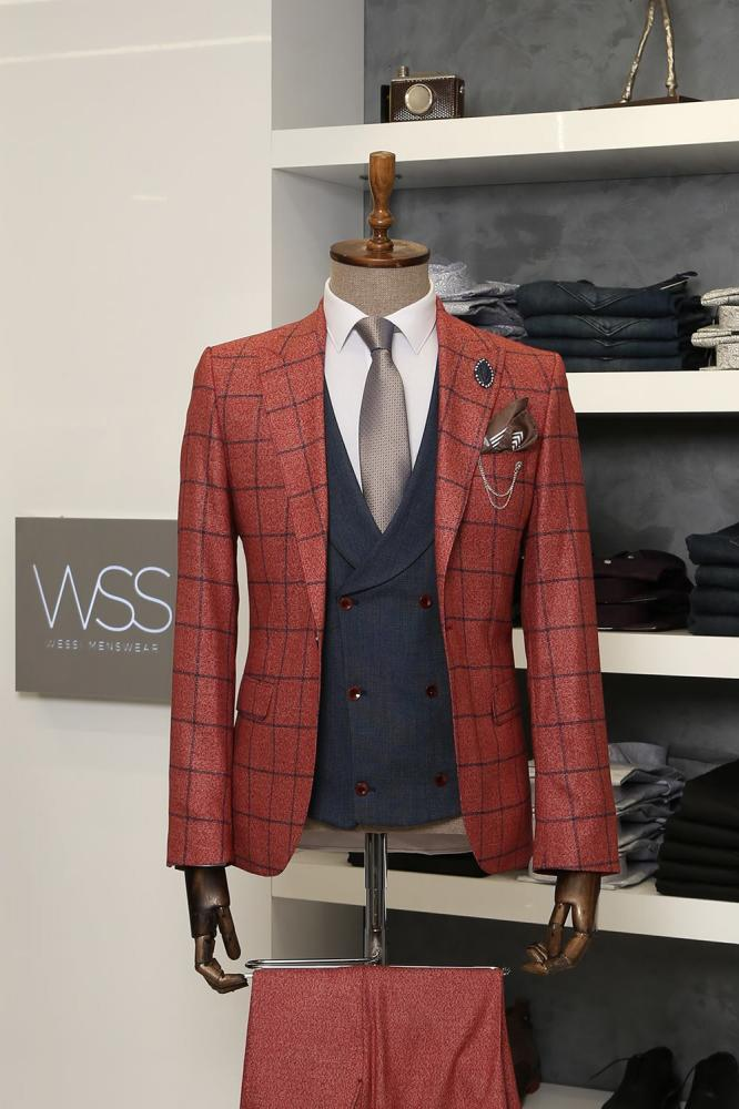 Checked Burgundy Men's Vested Suit | Clothing Supplier_2