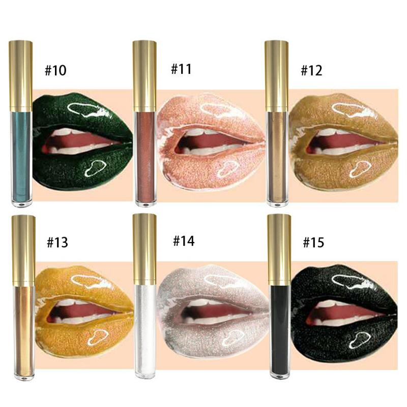 MS-LPG-015 Glitter Lip Gloss Long Lasting Waterproof Metal Shimmer Liquid Lipstick Moisturizing Black Blue Gold Lipsticks Lips Make Up_5