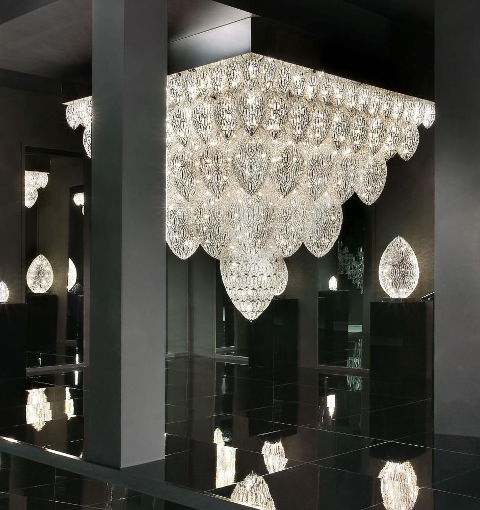 Chandelier Tutankhamon, 113 Lamps, Chrome Finish, Arabesque Style, Italy_3