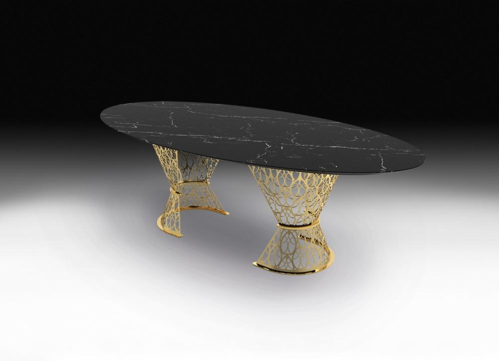 Table Gatsby, Top in Marble and Structure in Stainless Steel, Arabesque Style, Italy_2