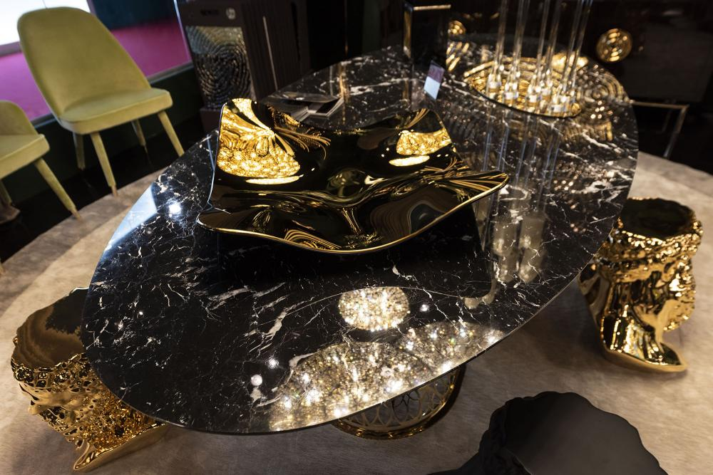 Table Gatsby, Top in Marble and Structure in Stainless Steel, Arabesque Style, Italy_4