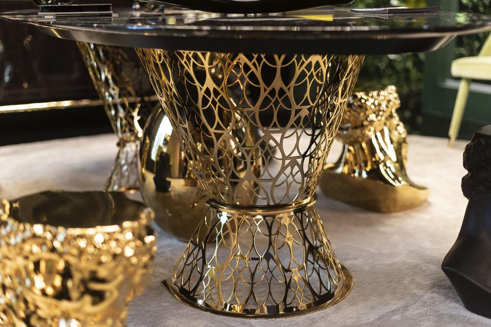 Table Gatsby, Top in Marble and Structure in Stainless Steel, Arabesque Style, Italy_5