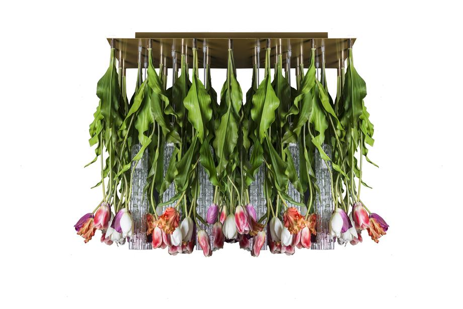 Flower Power Tulip Chandelier, Muranese Glass and Artificial Flowers, Italy_2
