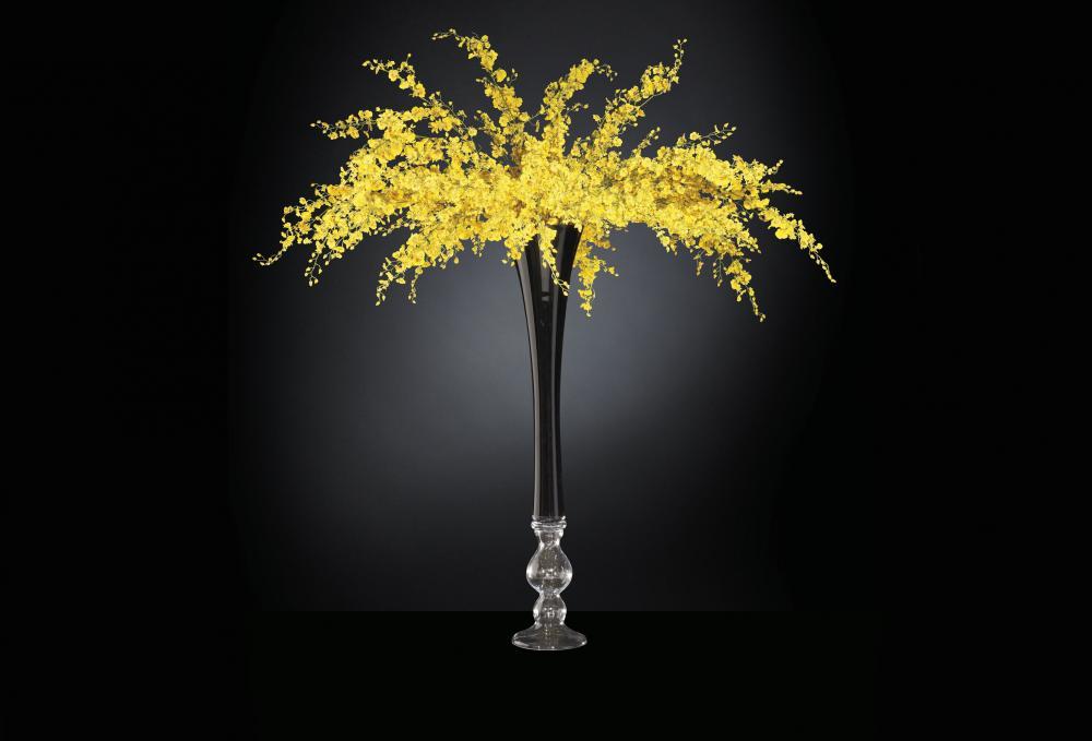 Flower Set Arrangement Sayonara, Black Vase and Yellow Flowers, Italy_2